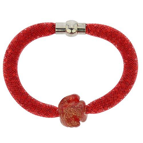GlassOfVenice Murano Glass Rose Flower Bracelet - Red