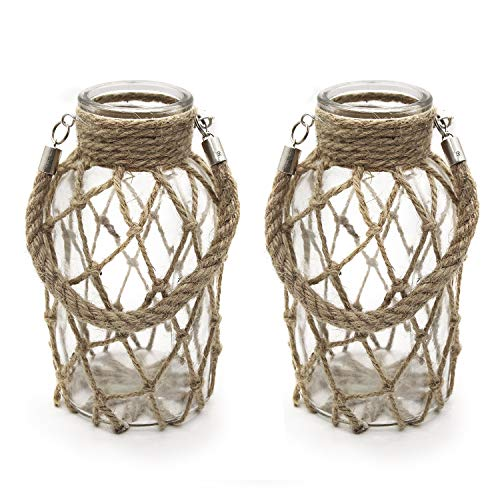 Funsoba Rustic Hanging Mason Jar Creative Rope Net Dry Flower Glass Vase with Handle Pack of 2 (2 Vase 8