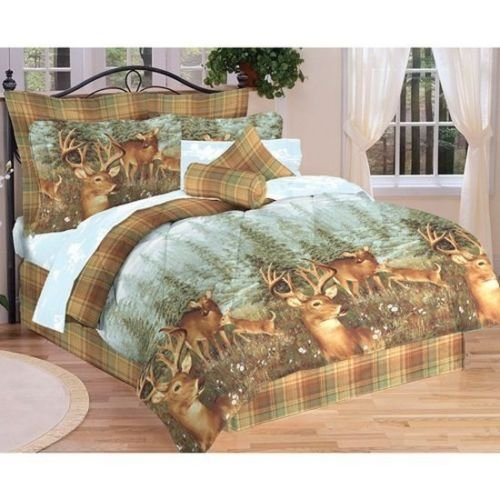 Deer Creek Quilt - Northwood Woodland Lodge Cabin Deer Creek Bed In a Bag Comforter Sheet Set (Full)