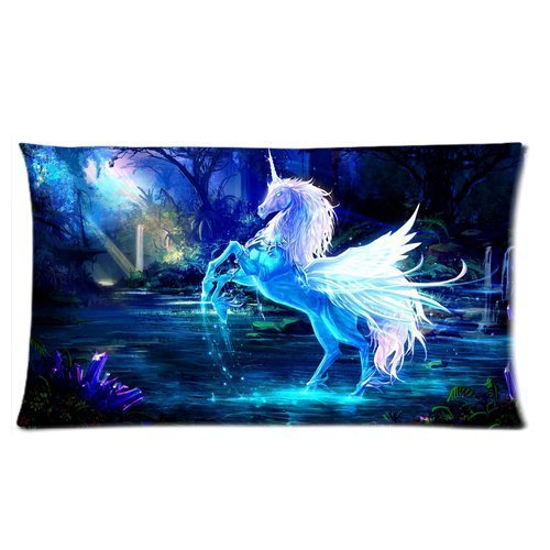 Custom Secret Forest White Unicorn Horse on Lake Rainbow Moon Light Rectangular Pillow Case 20x36 Inches Creative Personalized Pillowcase Bedding Pillow Slips Lovely cat SHUJU2
