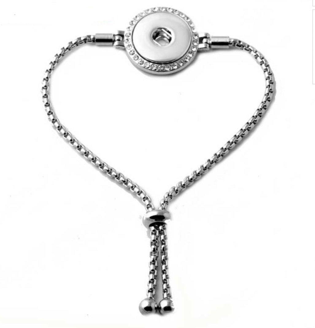 My Prime Gifts Interchangeable 18-20mm Snap Jewelry Adjustable Slider Strand Bracelet - Rhinestone Halo by