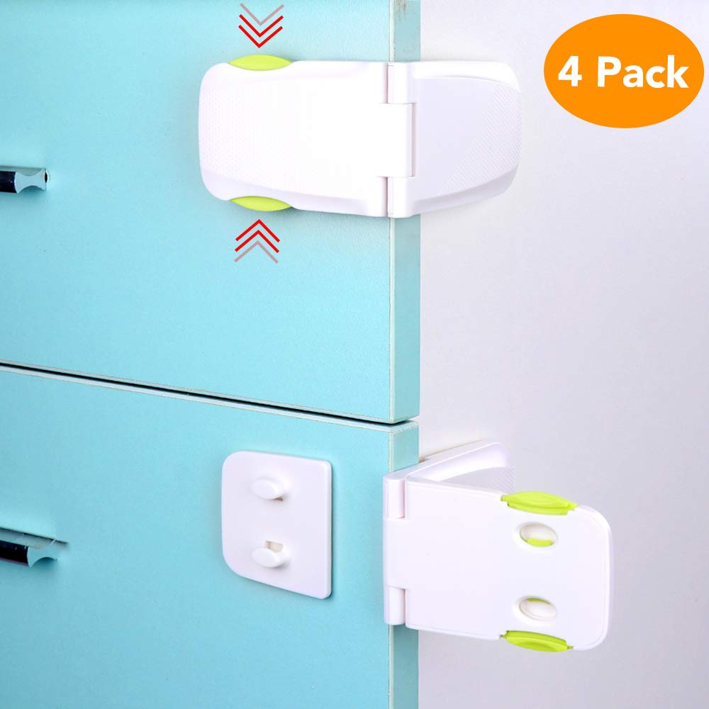 Cabinet Locks Child Safety, McoMce 4 Pack Baby Proofing Cabinet Latches Fridge Lock, Child Proof Cabinet Locks, Baby Safety Locks for Kitchen Storage Doors, Drawers, Cupboard, Oven, Refrigerator