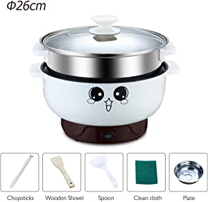 Electric Skillet Nonstick with Lid Multifunctional Small Electric Grill Pot & Skillet Cooker for Cooking Rice Hotpot Simmer Frying Steamed Eggs (3.2L with Steamer)