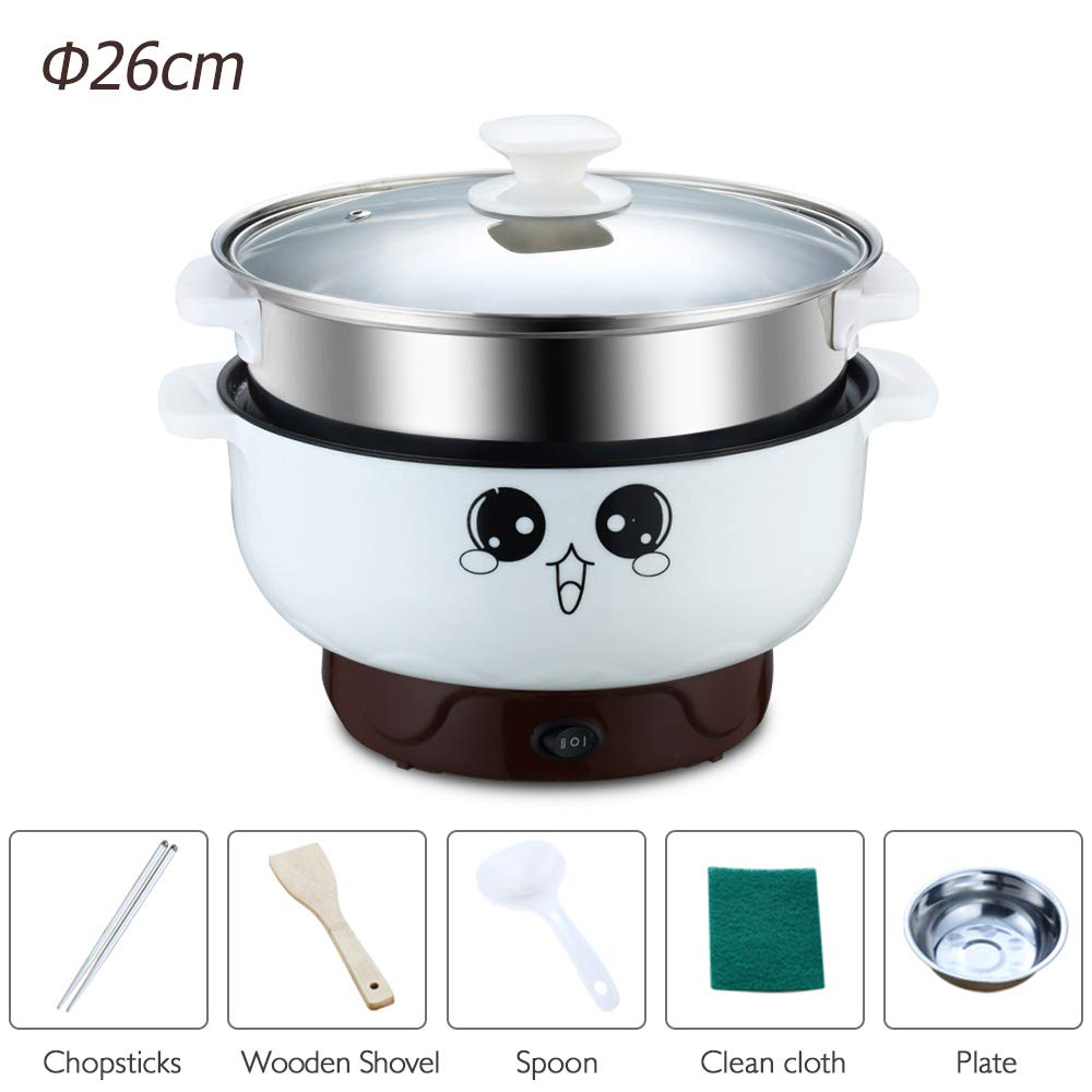 4-in-1 Multifunction Electric Skillet Non-Stick Stainless Steel Hot Pot Noodles Rice Cooker Steamed Egg Soup Pot Portable Mini Heating Pan Cooking Fried (Diameter 26CM, 3.6L, Electric Skillet with Steam Grid)