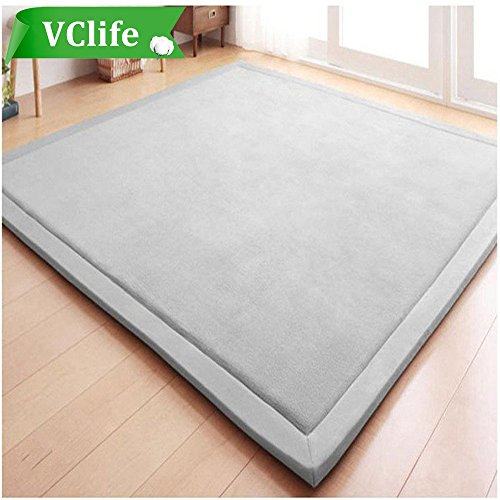 VClife Solid Area Rug (Gray) Coral Fleece Rug Carpet for Living Room Bedroom Kitchen, Anti-Skid, Ultra Soft,4.9'x 6.6'(4.9 Feet by 6.6 Feet)