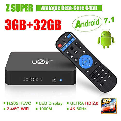 U2C Z Super Android Tv Box 3gb Ram 32gb ROM,Android 7.1 Tv Box Amlogic S912 Octa Core 64 Bits Dual-Band Wifi 2.4G/5G Smart Boxes (2018Update)