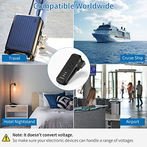 Travel Power Strip with USB - NTONPOWER 2 Outlets 3 USB Portable Desktop Charging Station, 15 inches Wrapped Short Extension Cord for for Hotels, Cruise, Nightstand, Airports, Conference Room - Black