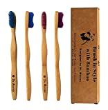 Toothbrush Bamboo - Designed by Dentist - Soft Bristles for Natural Cleaning - Whitening and Gum Protection - 4 Count Pack