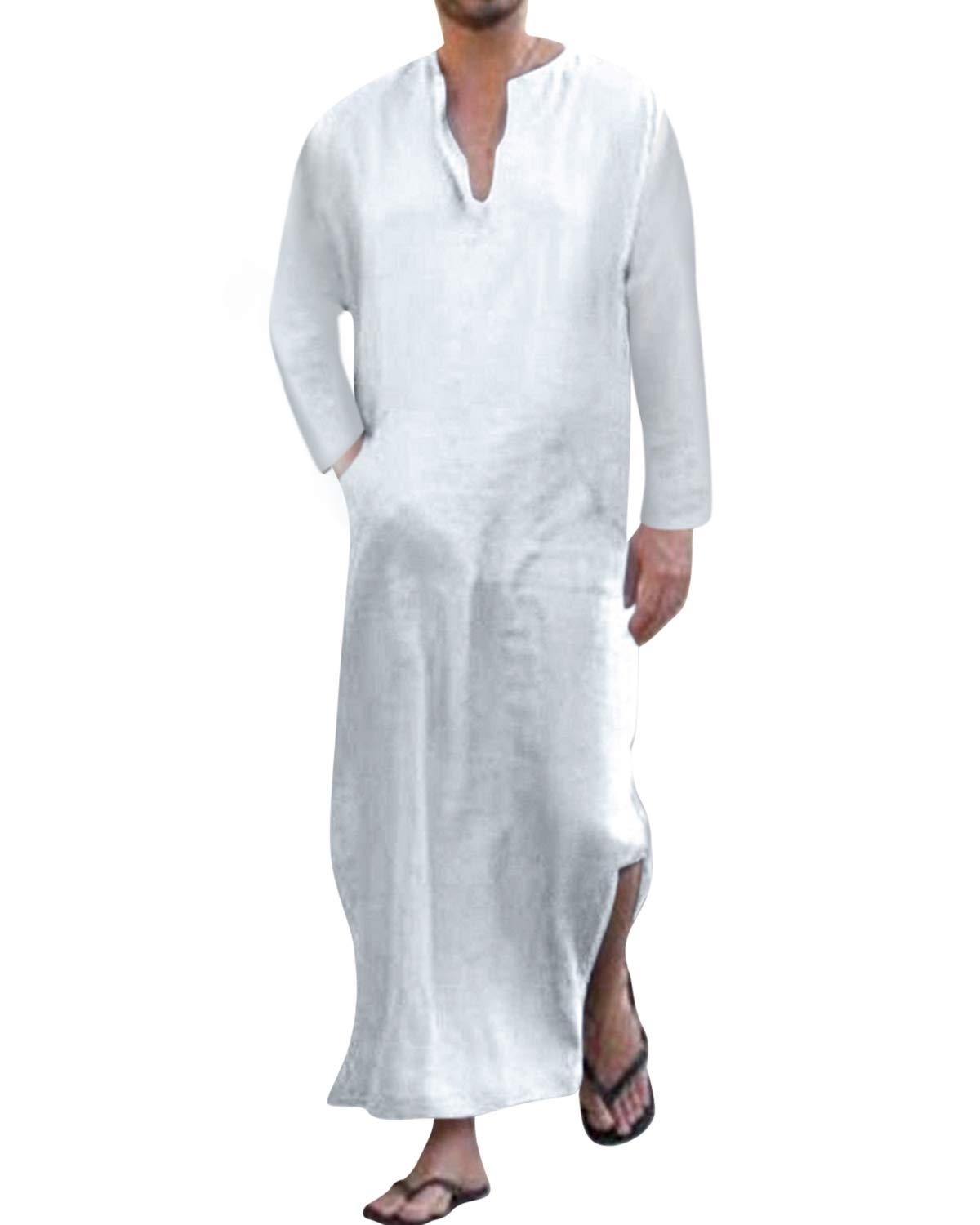 Jacansi Men's Cotton Long Sleeve V Neck Solid Side Slit Middle East Long Thobe White #1 XL by Jacansi