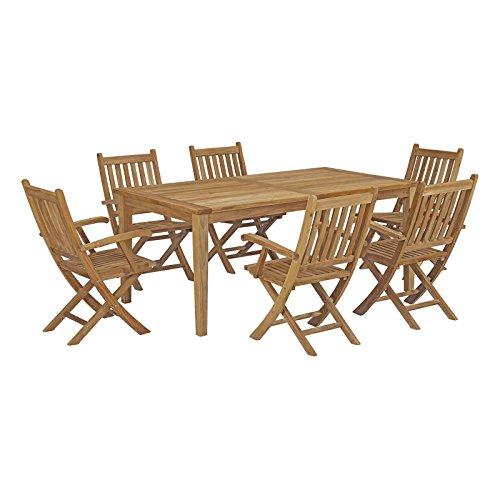 - Modway EEI-3206-NAT-SET Marina Premium Grade A Teak Wood 7-Piece Outdoor Patio Dining Furniture Set, Natural