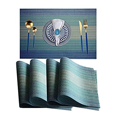 WANGCHAO Placemats Placemats Dining Room Table Mats Woven Vinyl Washable Durable Heat-Resistant Non-Skip Kitchen Strip PVC Placemats(Sky Blue, Set of 8)