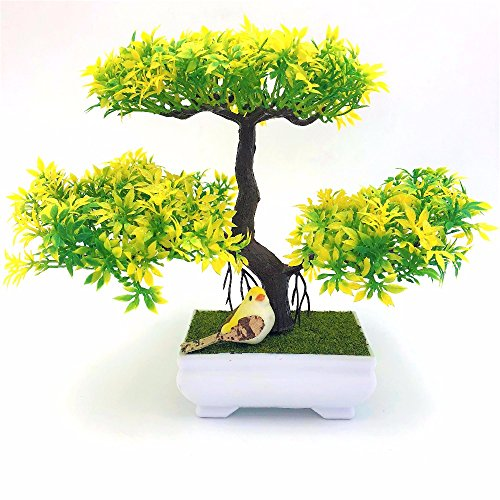(WG Wedding Decoration DIY Flowers Wreaths Artificial Flower Trigeminal Potted Bonsai Fake Flower Plant Pine Trees,C)