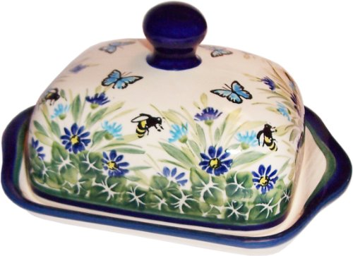 """Polish Pottery Butter Dish - """"Eva's Collection"""" Serenity"""