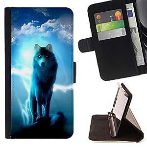 Dragon Case- Caja de la carpeta del caso en folio de cuero del tir¨®n de la cubierta protectora Shell FOR Sony Xperia M2 s50h Aqua- Wolf Wolves