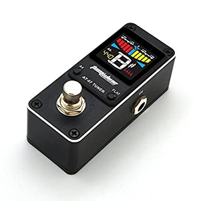 Guitar Tuner Pedal Chromatic for Guitar (6-7 strings) and Bass (4-6 strings) High Definition Color Screen Pitch 430-450Hz 4 Flat Options True Bypass Nano Size