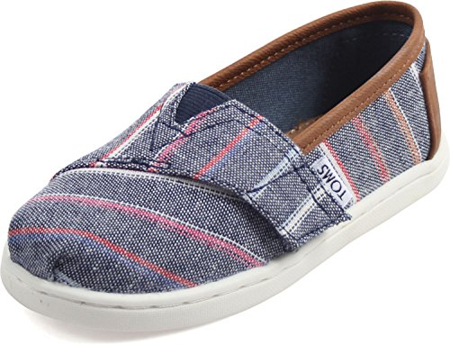 tom-tiny-slip-on-shoes-size-9-m-us-toddler-color-navy-multi-stripe-pu