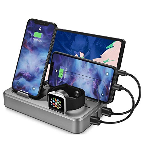 Android Charger Station for Multi Device Sendowtek 5 Port 50W USB Charger Docking Station QC 3.0 Desktop Watch Stand…