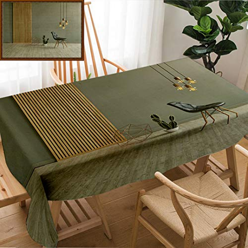 - Unique Custom Design Cotton And Linen Blend Tablecloth Gray Wall In Front Of Modern Wooden Separator Modern Pendant Lamp Textured Wood Laminate FlooringTablecovers For Rectangle Tables, 78