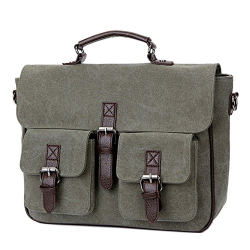 Canvas Back Business Man Shoulder Men Army Briefcase Bag Green Pack Office Documents Rucksack xA8RwYqwt