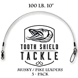 Tooth Shield Premium Fluorocarbon Musky Leader 3 Pack 100lb 10''
