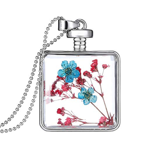 YAZILIND Platinum Plated DIY Dried Flower Square Lockets Pendant Necklace Birthday Gift(Color 2) (Diy Best Friend Necklaces)