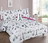 Golden Linens Twin Size 6 Pieces Printed Comforter with sheet set Bed in Bag Multi colors White Black Pink Paris Eiffel Tower Design Girls/Kids/Teens # Twin 6 Pc Paris
