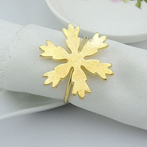 Aluminum Napkin Rings - The Crafty Owl Snowflake Napkin Rings for Dinners, Parties, Christmas, Holidays Set of 6 (Gold)