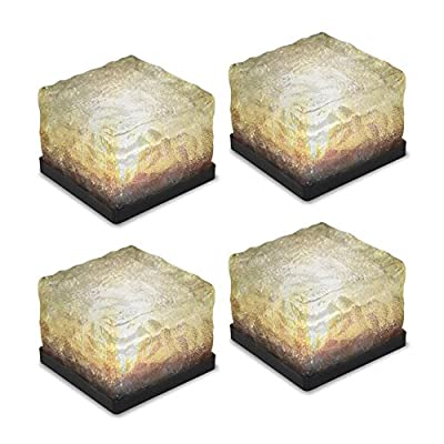 Solar Path Ice Cube Lights LED In-ground Buried Brick Landscape Light 4Pcs For Garden Courtyard Pathway Patio Pool Pond Outdoor Decoration