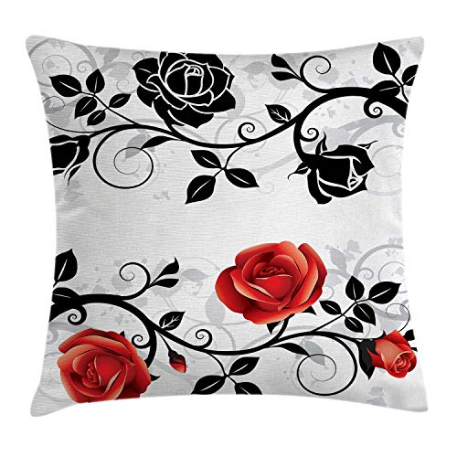 Ambesonne Red and Black Throw Pillow Cushion Cover by, Abstract Backdrop Floral Rose Swirls Ivy with Leaves Spring Image, Decorative Square Accent Pillow Case, 18 X 18 Inches, Pale Grey Vermilion