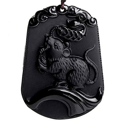 Pure Natural Zodiac Necklace Pendant Made of Obsidian Gemstone Horoscope Animal Sign Amulet (Rat-Intelligent)