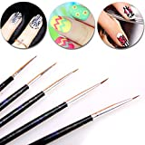 Best Art Brush For Acryls - 5 Piece Handle Acryl Black Brushes Nail Brush Review