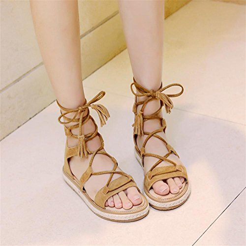 pengweiSummer Roman shoes flat knitted linen lace stripes shoes exposed toe bag with sandals eU2Zia8bDl