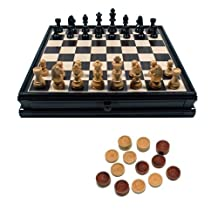 WE Games Chess & Checkers Board with Storage Drawers - Black Stained Wood 15 in.