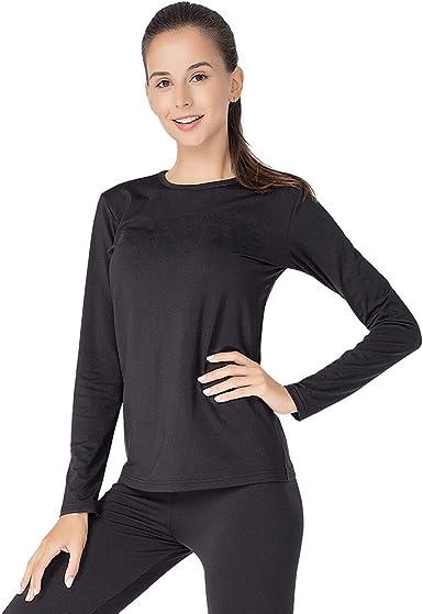 MANCYFIT Thermal Underwear for Women Long Johns Set Fleece Lined Ultra Soft Scoop Neck 2 Pack Black X-Large