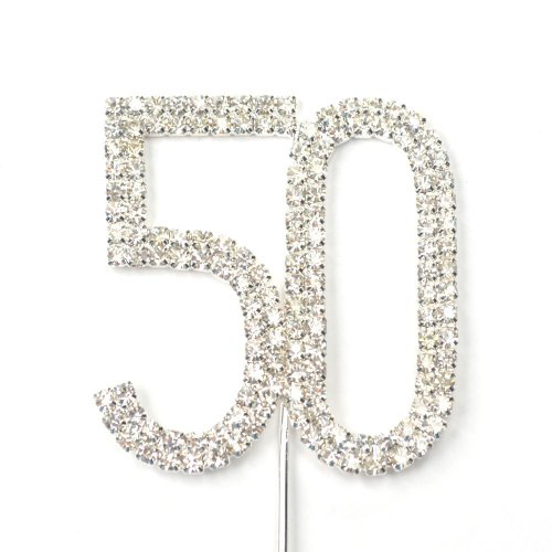 Sunshinesmile Rhinestone Crystal Silver Number 50 Birthday 50th Anniversary Cake Decoration Cake Topper