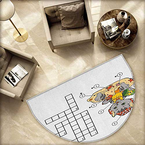 Word Search Puzzle Bath mats for Floors Crossword Game for Children Cute Cat on Beach and Building Sand Castles Bathroom Mats Half MoonH 59