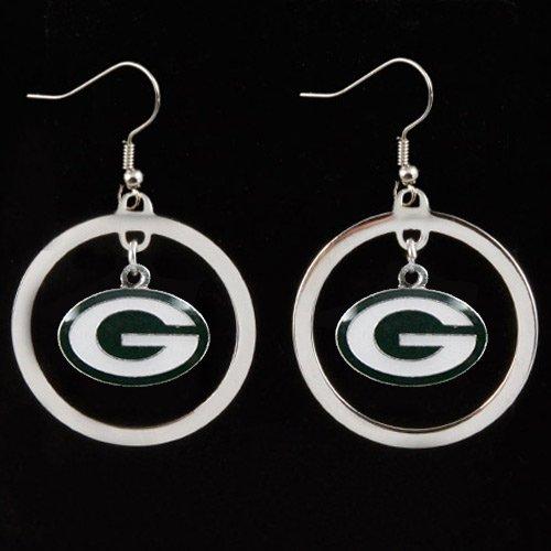 aminco NFL Green Bay Packers Charm Hoop Earring Set