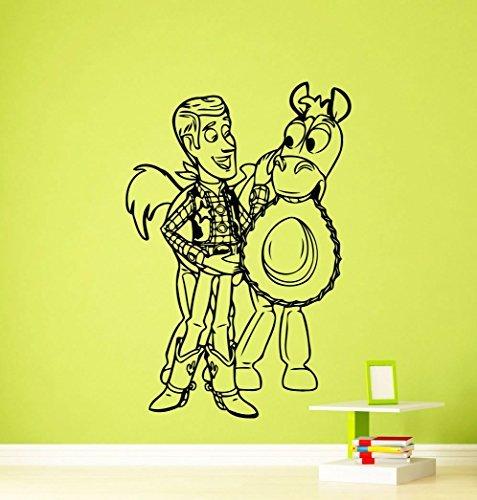 Sheriff Woody Toy Story Wall Decal Disney Cartoons Sheriff Woody Buzz Lightyear Jessie Slinky Dog Vinyl Sticker Nursery Wall Art Teen Kids Room Wall Decor Removable Waterproof Mural (Cartoon Cowgirl)