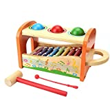 Targherle Wood Toys Kids 2 in 1 Wooden Pond & Tap Bench Slide Out Xylophone- Toddlers Wooden Early Educational Musical Toys 1 year old up