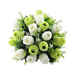 ChainSee 2017 New Fashion Beautiful Design 18Head Artificial Silk Roses Flowers Bridal Bouquet Rose Home Wedding Decor (E) 12
