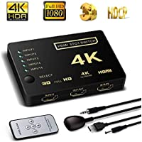 HDMI Switch 5X1, Support HDCP 1080p 5 in 1 out HDMI Switcher 4K Intelligent 5 Port 4K HDMI Auto Switcher Box Audio/video Switcher Adapter Compatible with 4K Ultra HD Resolution for Mac PCs XBOX TVs