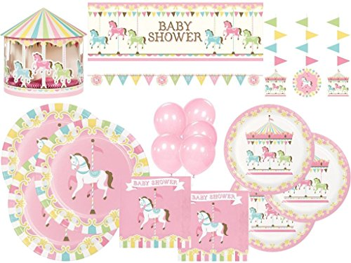 Pink Carousel Horse Ultimate Baby Shower Tableware and Decoration Kit for 24 (101 Pcs)