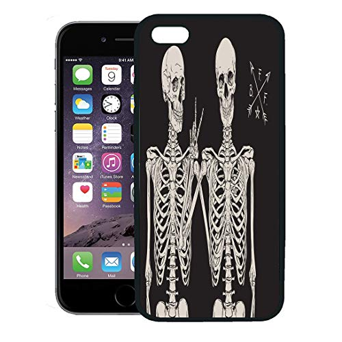 Semtomn Phone Case for iPhone 8 Plus case,Skull Human Skeletons Best Friends Posing Over Vintage Halloween Drawn iPhone 7 Plus case Cover,Black ()