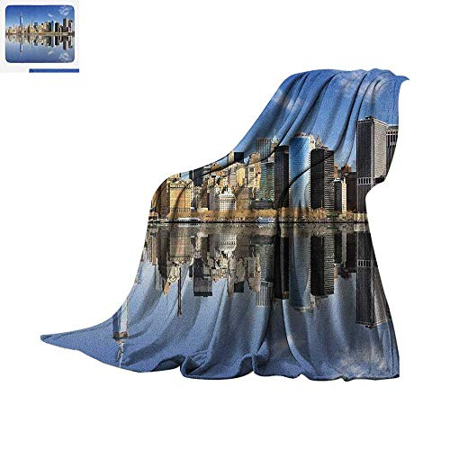 Island Light Tower - New York City Lightweight Blanket Manhattan Island Silhouette with Skyscrapers Towers Famous Island Velvet Plush Throw Blanket 60