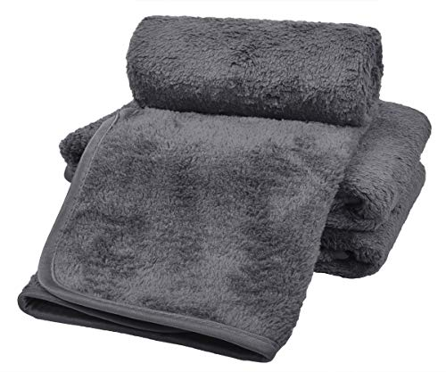 VIVOTE Microfiber Drying Towels 3 Pack Car Detailing Cleaning Waxing Buffing Towel Super Absorbent Lint-Free Streak-Free Cloths 16 Inch X 22 Inch Grey