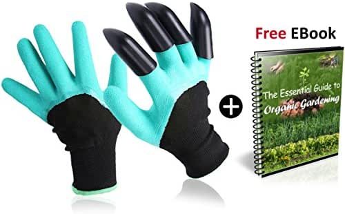 Best Pair Of Garden Genie Gloves By OBM: Heavy-Duty Weatherproof & Breathable Hand Protection For Landscaping Planting Digging Composting & Pruning Thorny Roses-Unisex & One Size-With Right Hand Claws