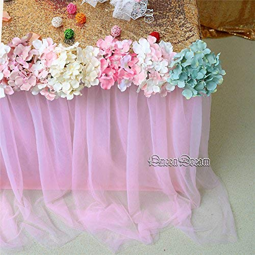 QueenDream Pink Fluffy Table Skirt Tulle Tutu Table Skirt for Rectangle Table for Girl's Birthday Party Baby Shower and Home Decor (L9(ft) H 30in) by QueenDream (Image #3)