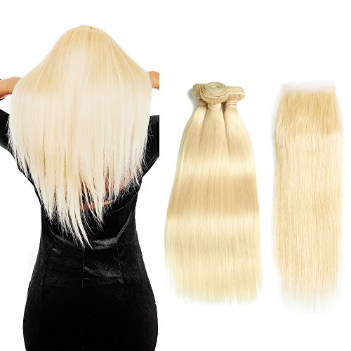 Queen Plus Hair Straight 613 Blonde Hair Bundles With Lace Closure Free Part Honey Blonde Brazilian Virgin Hair Weave 7A Blonde Human Hair (10 10 10 with 10)