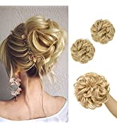 SARLA 2PCS Blonde Messy Bun Hair Piece Wavy Curly Synthetic Scrunchies Ponytail Extension for Wom...