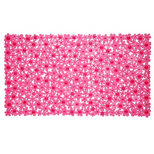 SlipX Solutions Pink Field of Flowers Bath Mat Provides Reliable Slip-Resistance (17 x 30, Pretty Floral Design, 100+ Suction Cups)